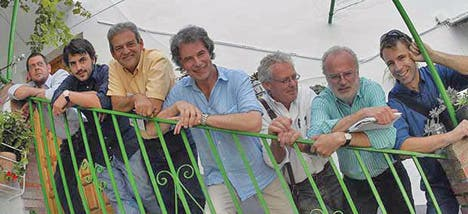Miguel Martinez, publisher Antonio Garcia, co-organiser Antonio Lopez, journalist Harry Eyres, writers Chris Stewart and Michael Jacobs and co-organiser Carlos Pranger