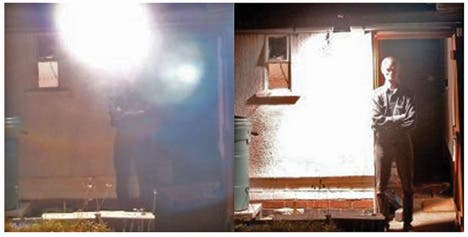 An example of poor security lighting (left) and good (right)