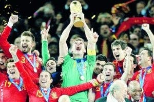 Spain celebrating World Cup win in 2010