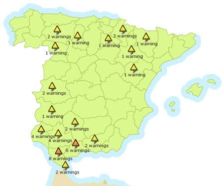 Orange severe weather alerts in Andalucia
