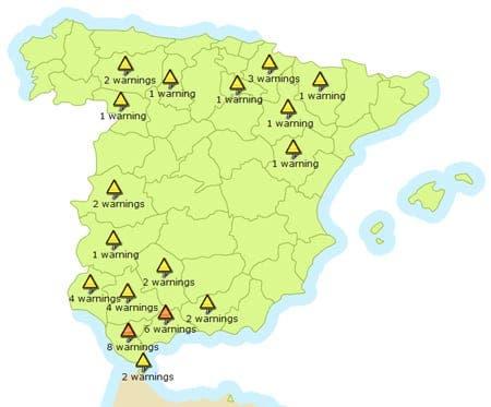 Orange severe weather alerts in Andalucia