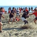 beach rugby action