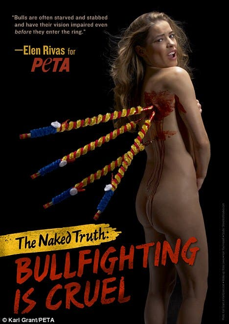 Elen Rivas gets naked to ban bull fighting in Spain