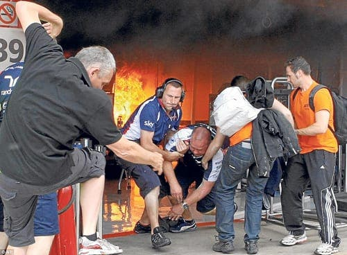Blazing row over fire at Spanish Grand Prix