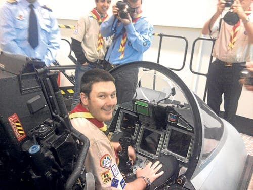 Scout group visits air base at Moron