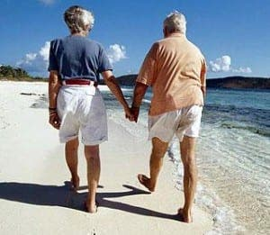Expat pensioners on beach