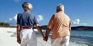 Expat pensioners on beach e