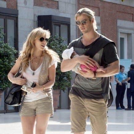 The Avengers' Chris Hemsworth shows baby daughter India around Madrid