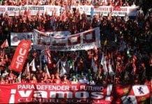 Protestors march in Madrid