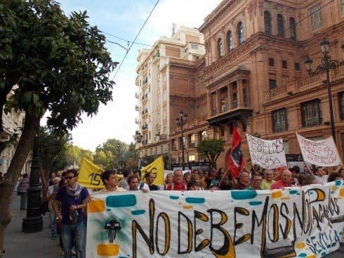 Sevilla residents take to the streets to protest against budget cuts