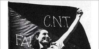 Anarchist with CNT banner