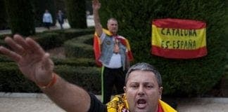 anti catalan supporters give franco salutes in spain