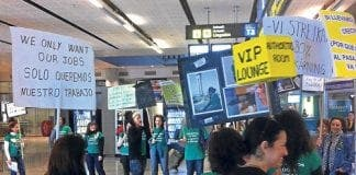 Airport staff hold protest