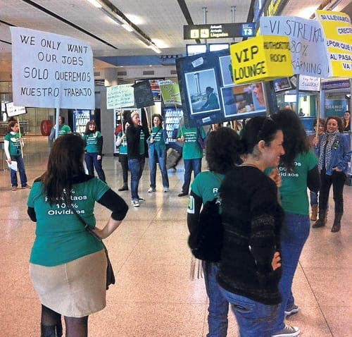 Malaga airport staff stage protest