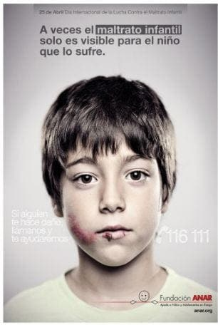 Spanish anti-abuse poster 'only visible to children'
