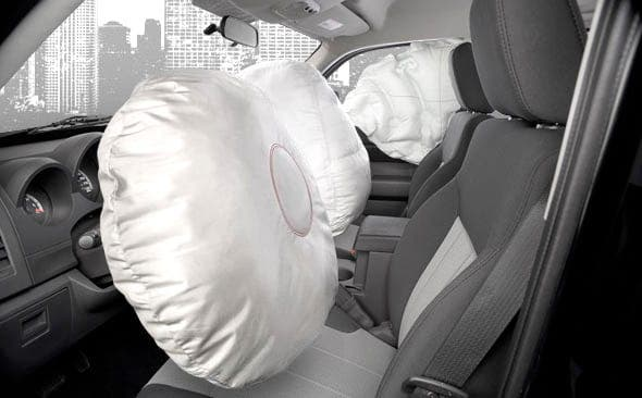 Caught by his own airbag
