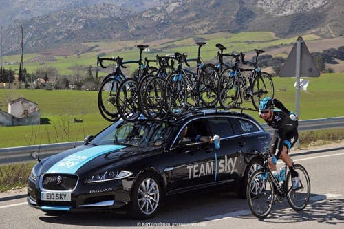 British cycling hero Sir Bradley Wiggins - who finished in 71st place - takes refreshment near Ronda. Photograph: Karl Smallman