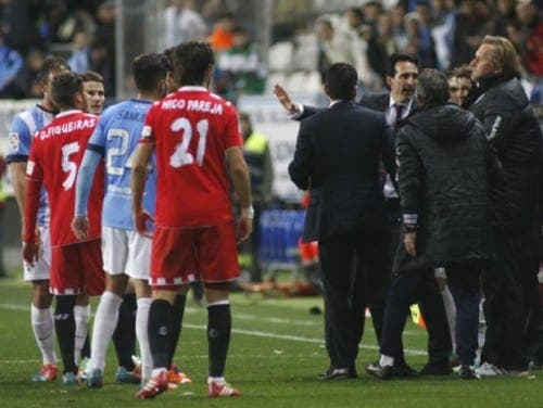 Malaga football boss in hot water after kicking off in fiery derby