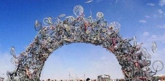 recycled art bike arch e