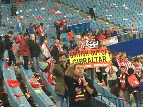 Atletico Madrid fans' anti-British Gibraltar poster