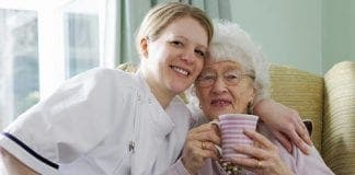 lady with tea and nurse e