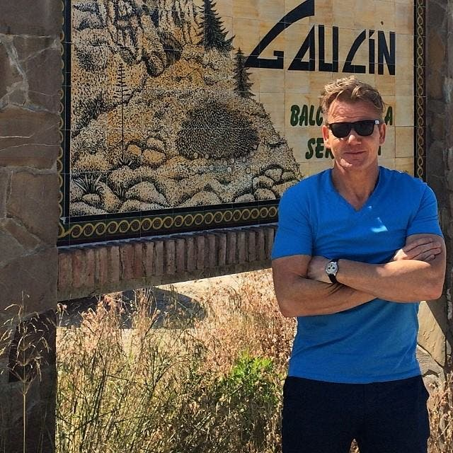 Chef Gordon Ramsay filming Kitchen Nightmares show in Gaucin