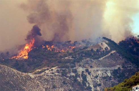 Frigliana wildfire. Photo: Ayuntamiento Frigliana