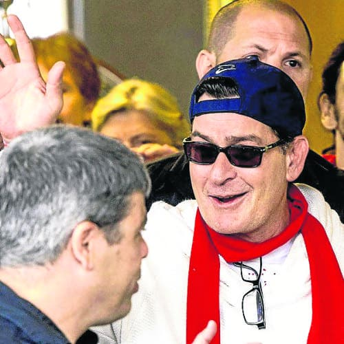 Charlie Sheen spotted 'winning' in Pamplona