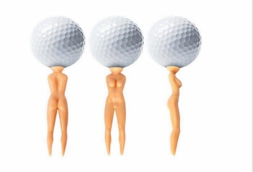 Naked woman golf tee 'normalises abuse of women'