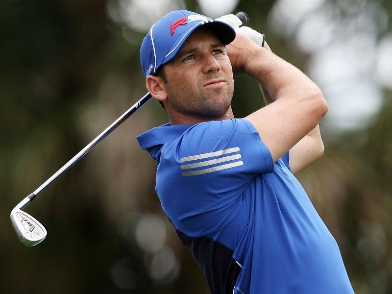 Sergio Garcia prepares to tee off for his seventh Ryder Cup