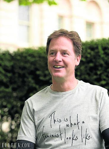 El Clegg dons feminist t-shirt quoting Spanish wife's influence