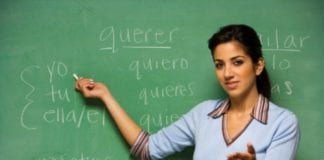 Spanish teacher blackboard  e