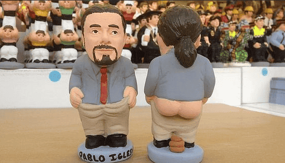 Podemos leader Pablo Iglesias immortalised taking a dump