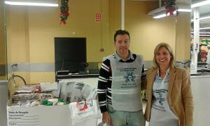 Over 703,000 kilos of food was collected by Bancosol as part of their annual food drive for homeless organisations. Hundreds of Mercadona supermarkets set up food banks (pictured left) and asked customers to donate one item of their shopping.