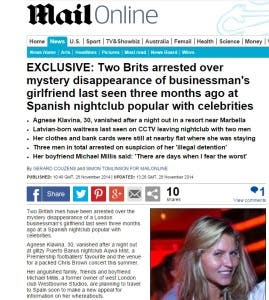 Mail Online's coverage of missing Agnese Klavina