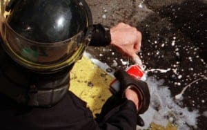 riot police drinking