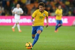 Barcelona's Neymar playing for Brazil