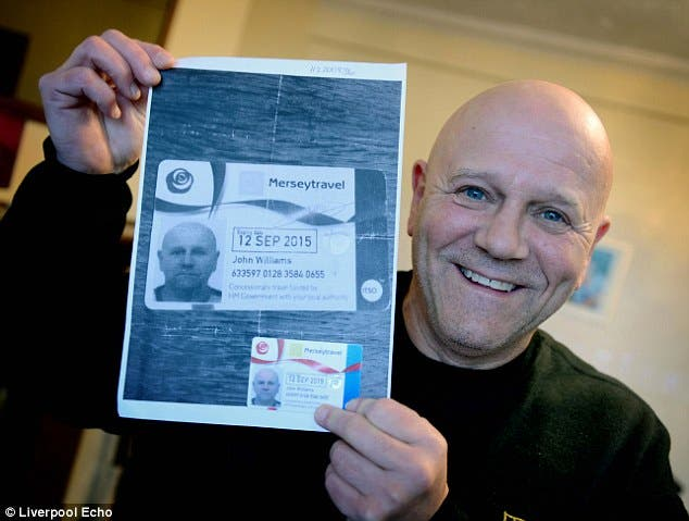 HOME: Williams with the bus pass, picture: Liverpool Echo