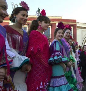DRESSED UP: Girls in flamenco dresses in Umbrete