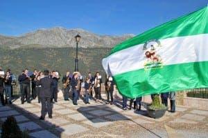 DIA DE ANDALUCIA: The municipal band in Jimera de Libar in the Serrania de Ronda accompanies the singing of the hymn of Andalucia earlier today