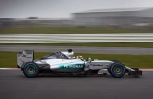 NEW MERCEDES: The W06 Hybrid pictured during 'shakedown' testing at Silverstone in the UK last week