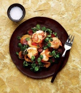 scallop pear and chorizo salad