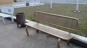 SPRAYED: Golden bench
