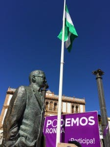 WATCHFUL EYE: Founder of Andalucian independence Blas Infante watches over a Podemos rally in Ronda this week