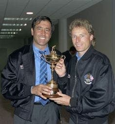 FAMOUS FRIENDS: Spain's Ballesteros and Germany's Langer