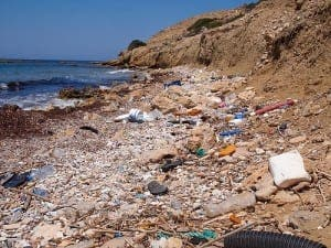 Litter on Mediterranean shores