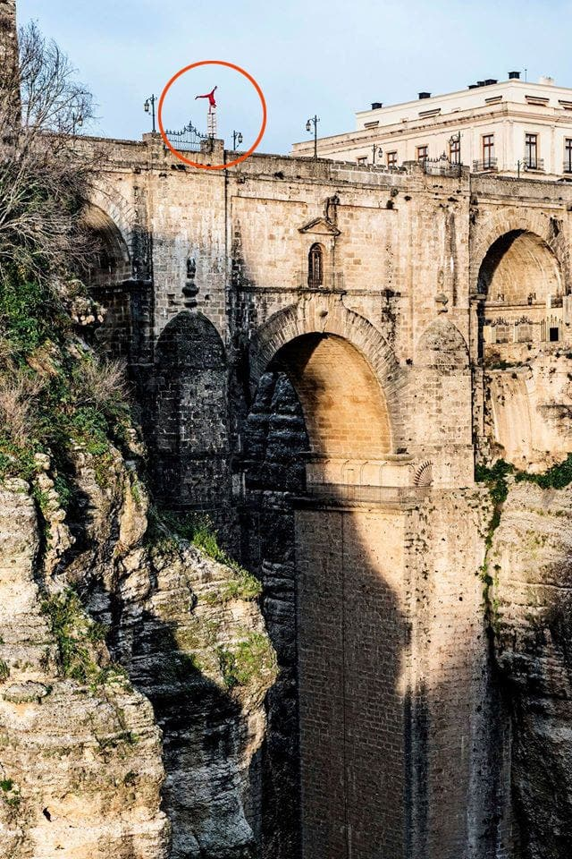 Death-defying Eskil Ronningsbakken has been living life on the edge in Ronda recently while shooting a new television series. Photograph: Alberto Zaldivar.