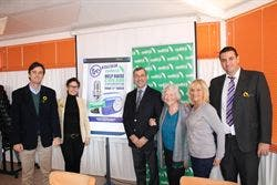 TEAM: Cudeca's Joan Hunt with TRE chairman Martin Nathan and others