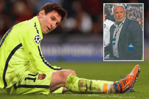 Football ace Messi and (inset) Tommy Dunn