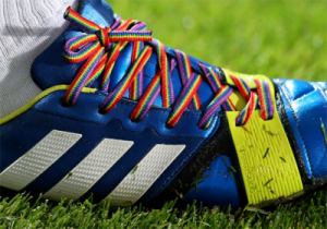 SUPPORT: Professional footballers wear rainbow laces to support homosexuals in the sport
